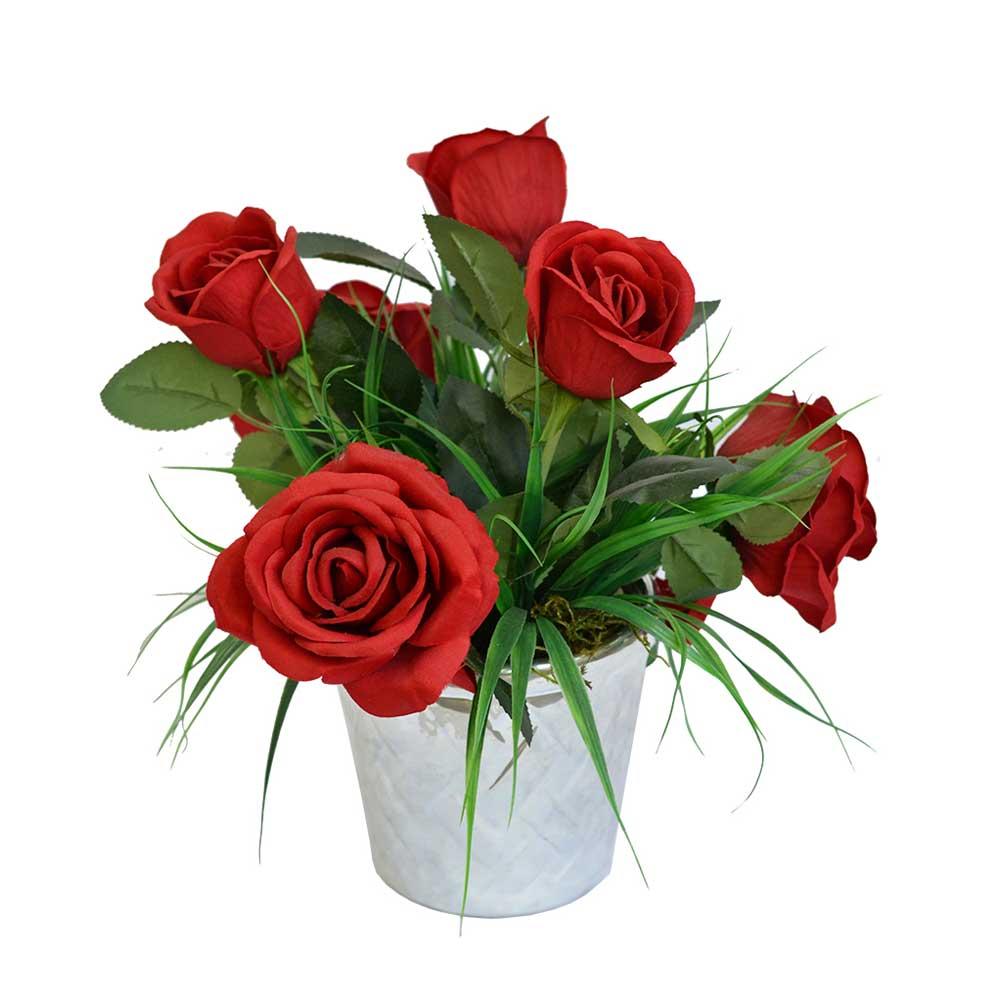 Arranjo de Rosas Vermelhas Artificias X6 com Vaso Prata