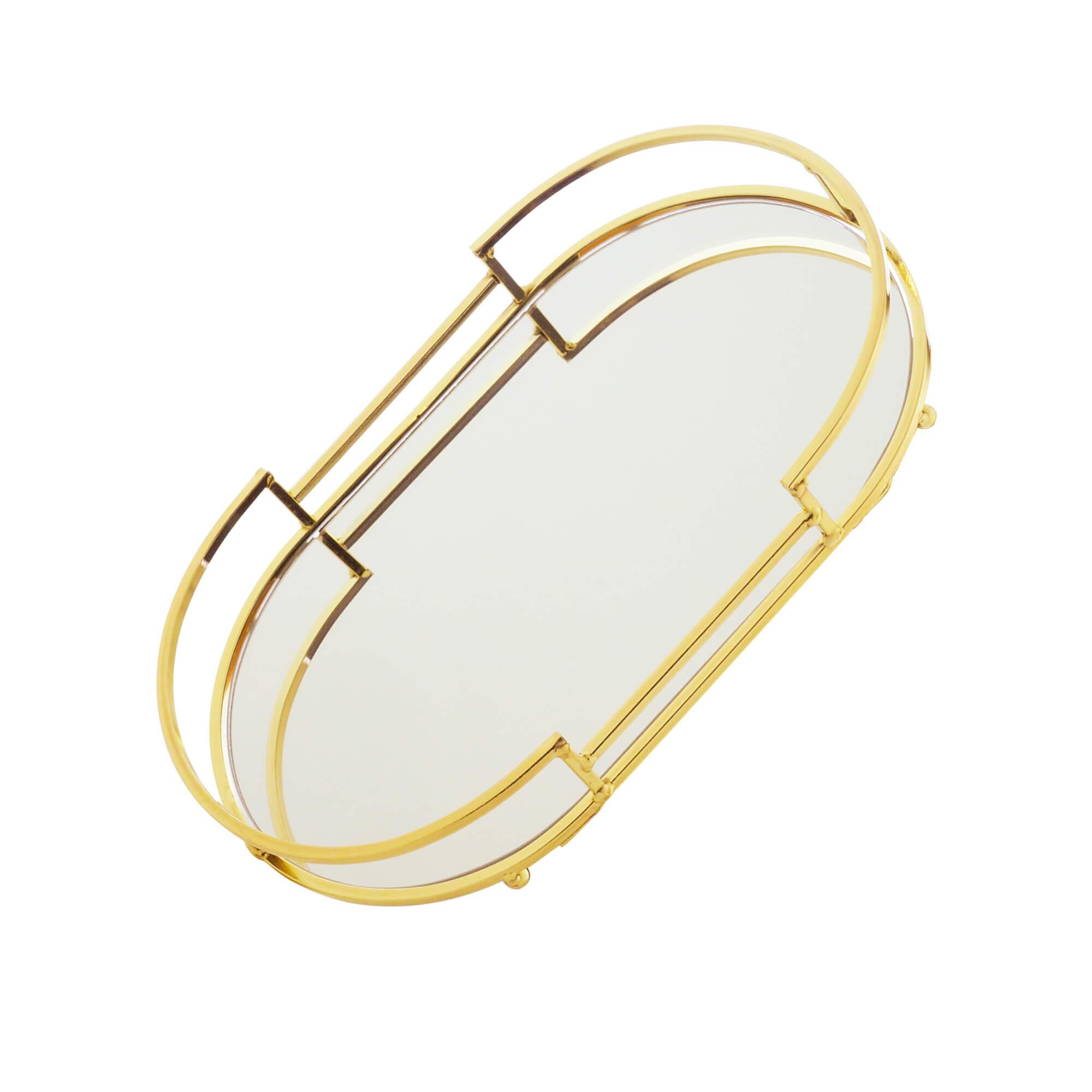 Bandeja Decorativa Espelhada Oval em Metal Dourada 26cm