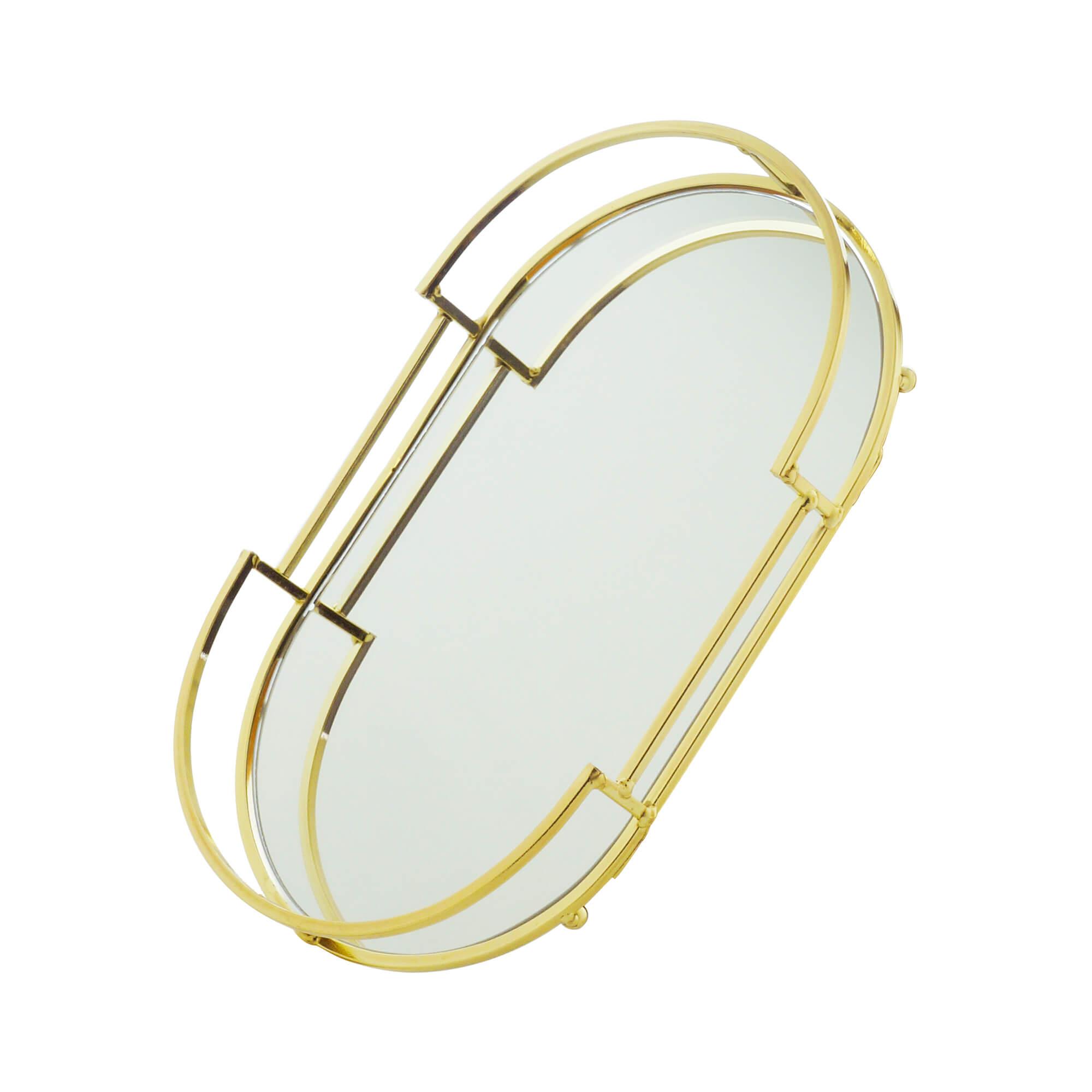 Bandeja Decorativa Espelhada Oval em Metal Dourada 32cm