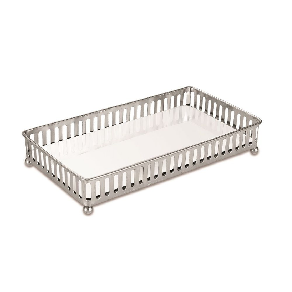 Bandeja Decorativa Prata em Metal com Espelho 24x13cm