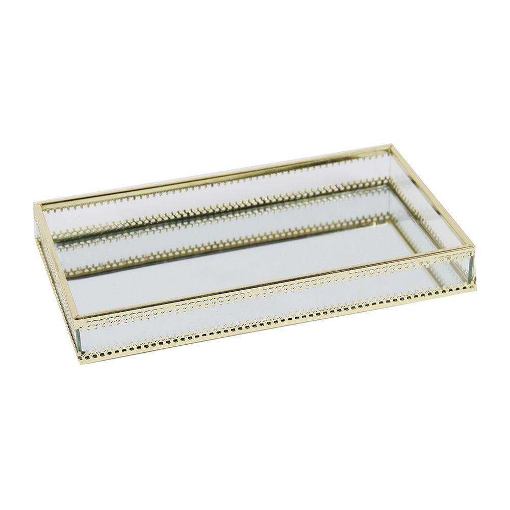 Bandeja Retangular Espelhada em Metal Dourada 29cm