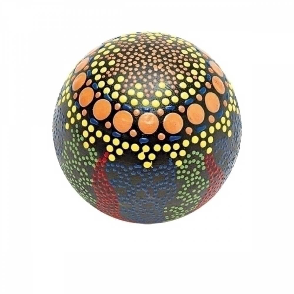 Bola Decorativa em Madeira Preta com Detalhes Coloridos