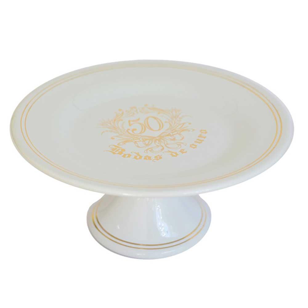 Boleira em Cerâmica Branca Bodas de Ouro