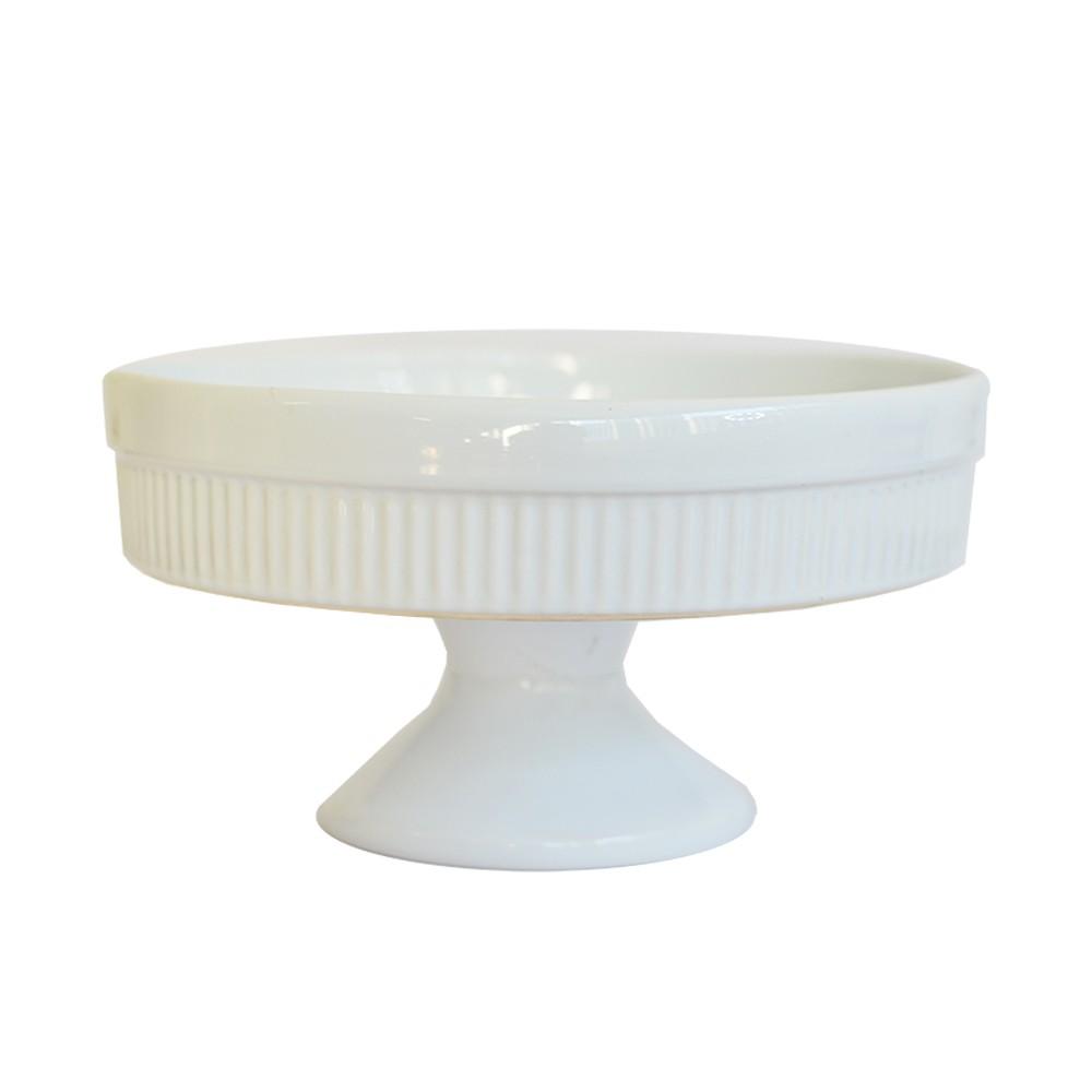 Boleira em Cerâmica Canelada Branca 23cm