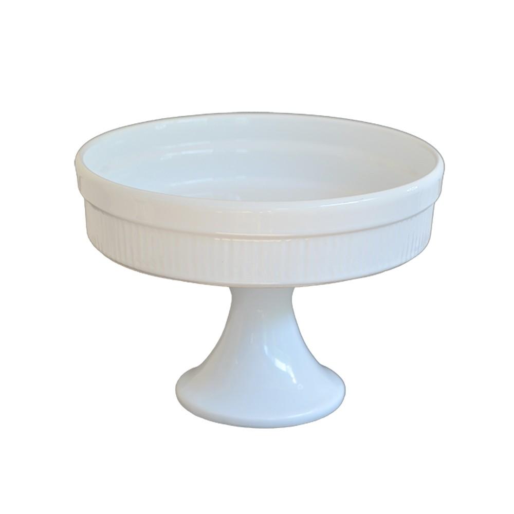 Boleira em Cerâmica Canelada Branca 30cm