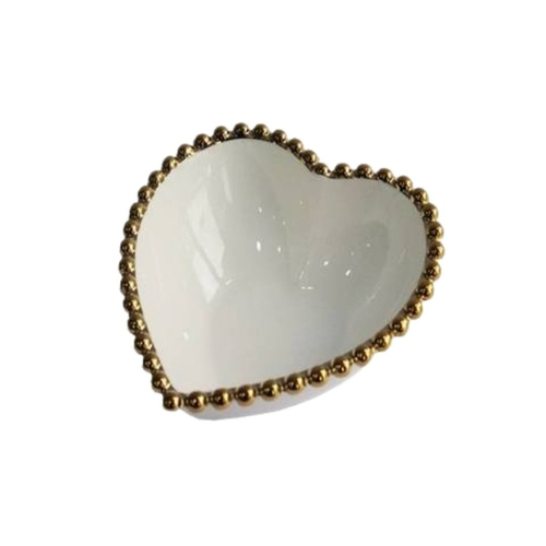 Bowl Coração Branco com Borda Bolinha Dourado 15cm