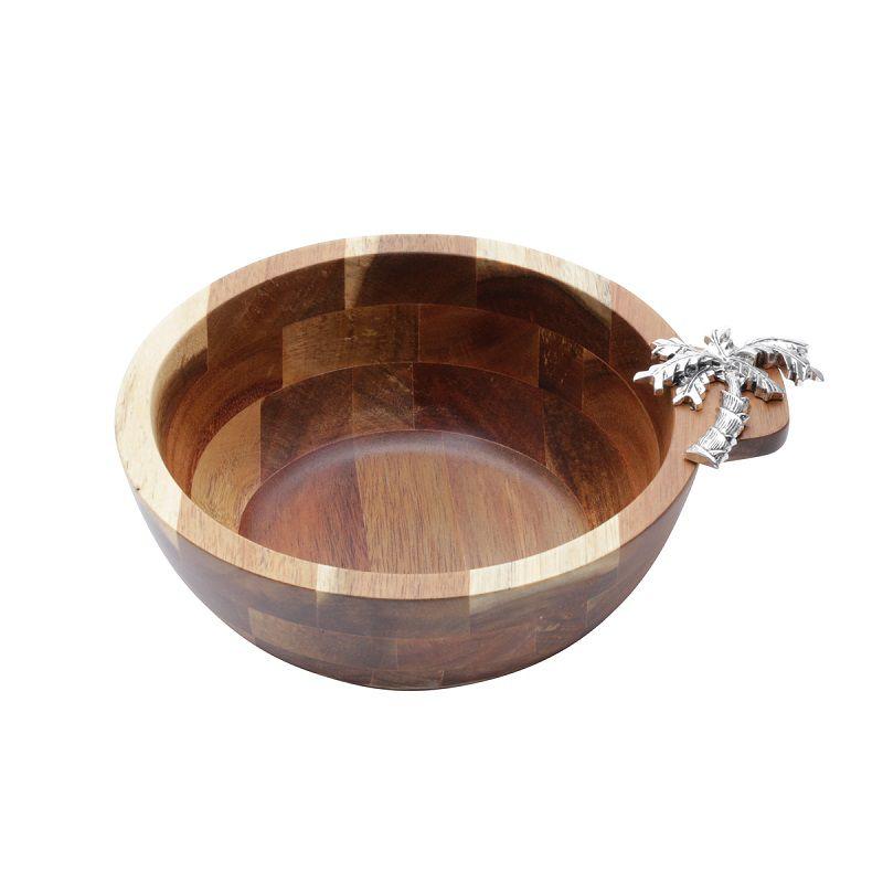 Bowl de Madeira Acácia com Detalhe Palmeira em Zamac 20x7,5cm