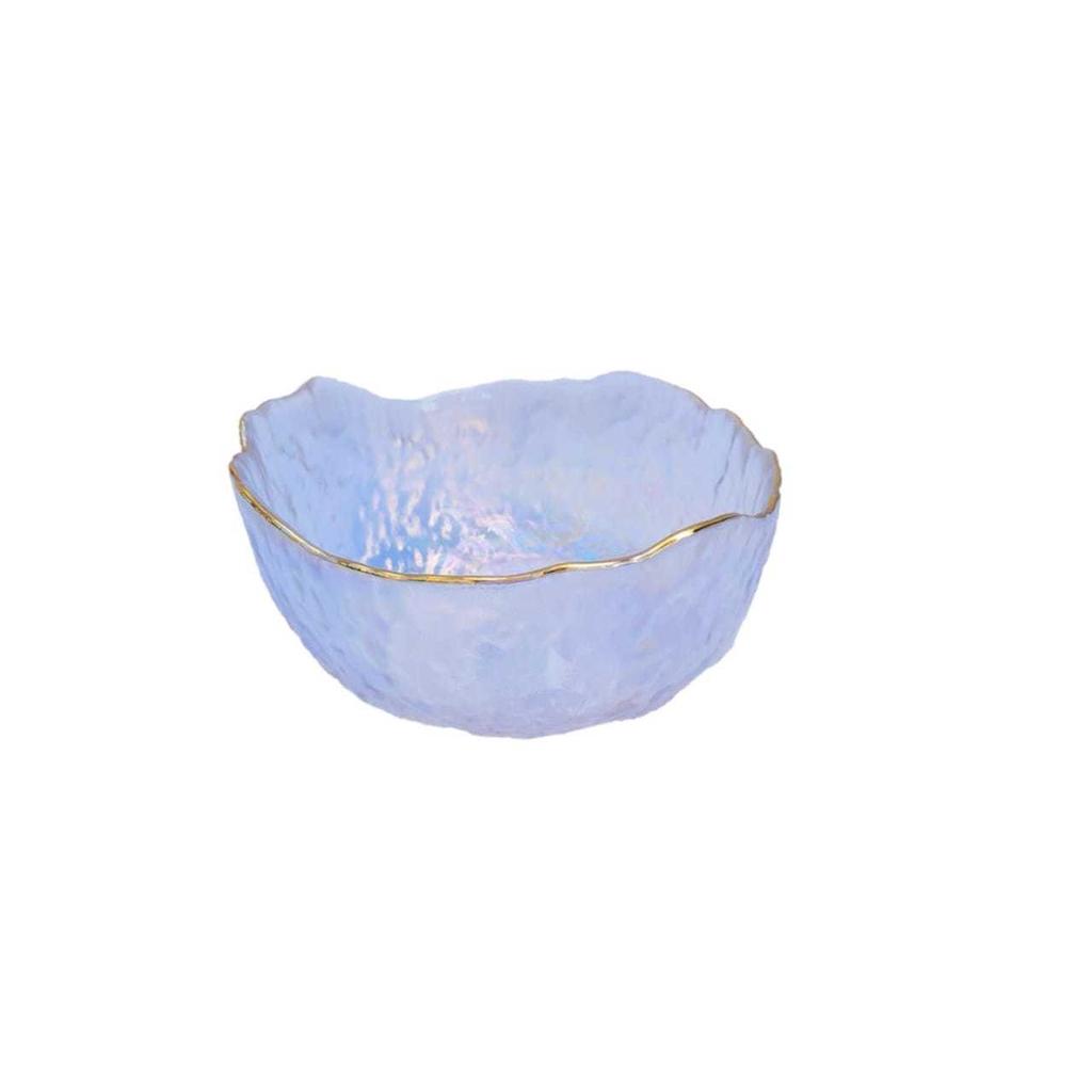 Bowl de Vidro Rustic Furta Cor com Borda Dourada 17x17x8cm