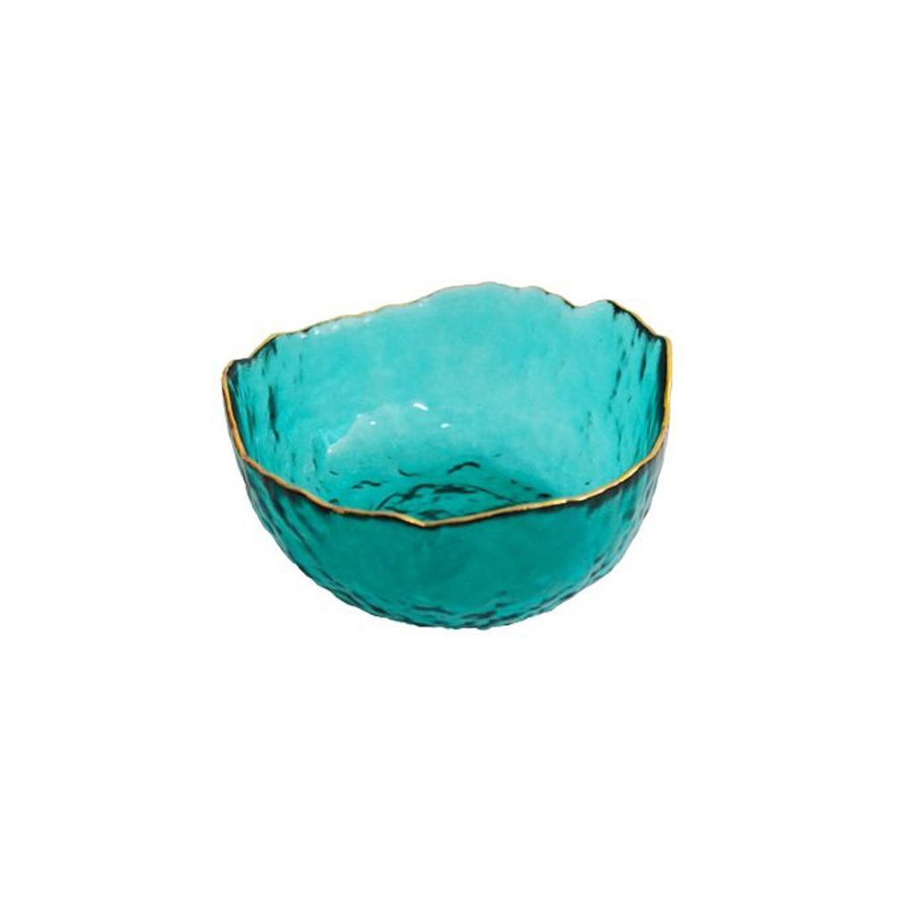 Bowl de Vidro Rustic Turquoise com Borda Dourada  13x13x6,5cm