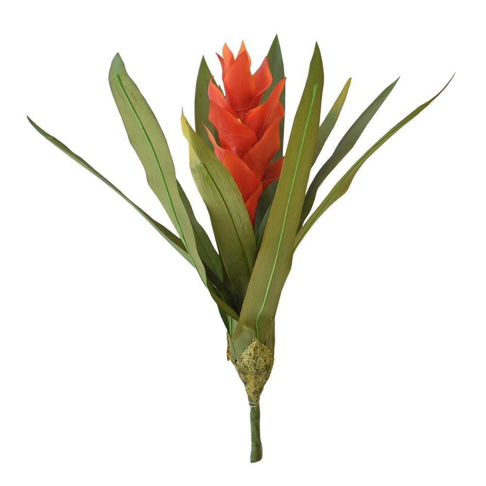 Bromélia Flor Artificial Laranja 40cm
