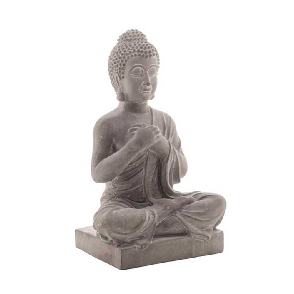 Buda Decorativo de Concreto Sentado Cinza 16x11,5x27cm