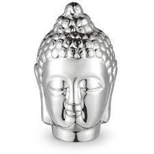 Buda Decorativo em Cerâmica Prata