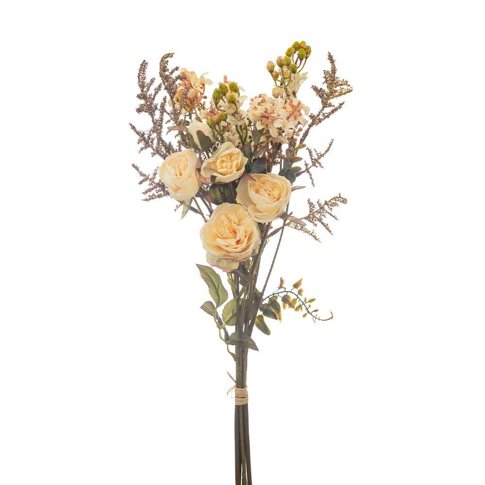 Buquê Artificial X5 Rosas Brancas e Complementos 52cm