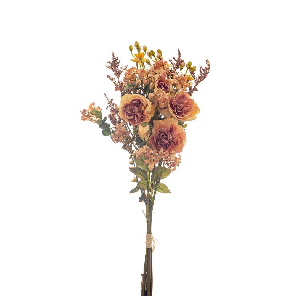 Buquê Artificial X5 Rosas Salmão e Complementos 52cm