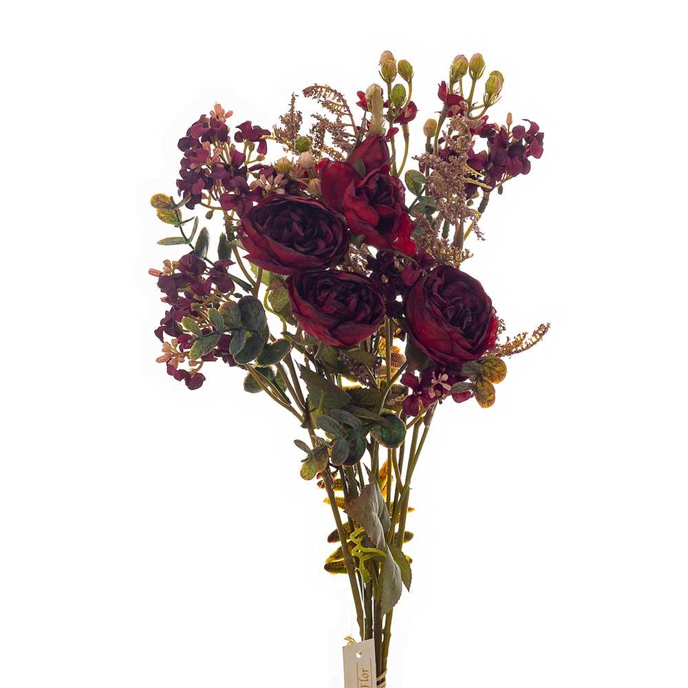Buquê Artificial X5 Rosas Vermelhas e Complementos 52cm