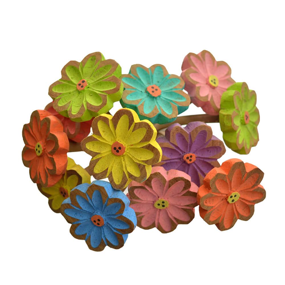 Buquê em Madeira Colorido com 12 Flores 53cm