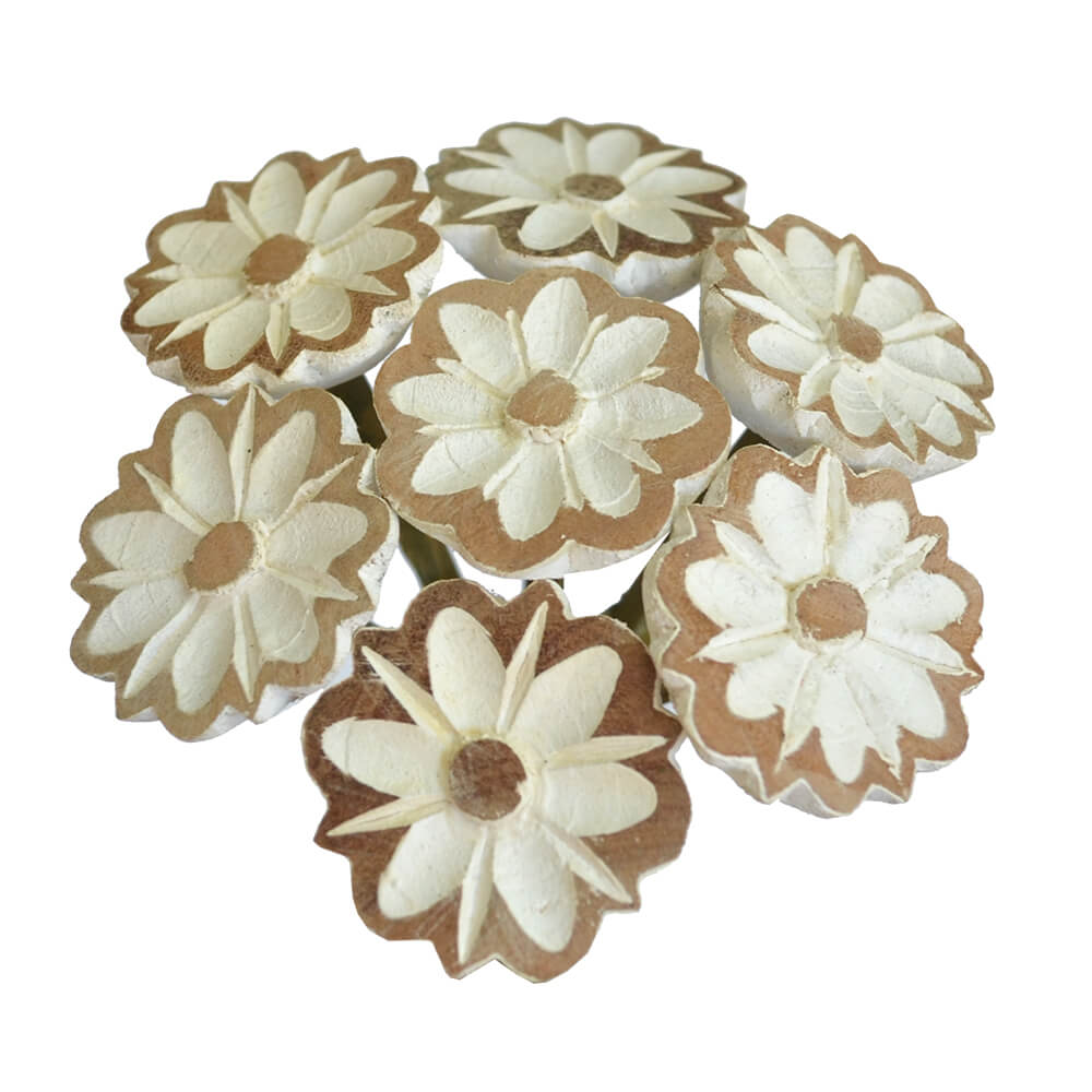 Buquê em Madeira Branco - 7 flores