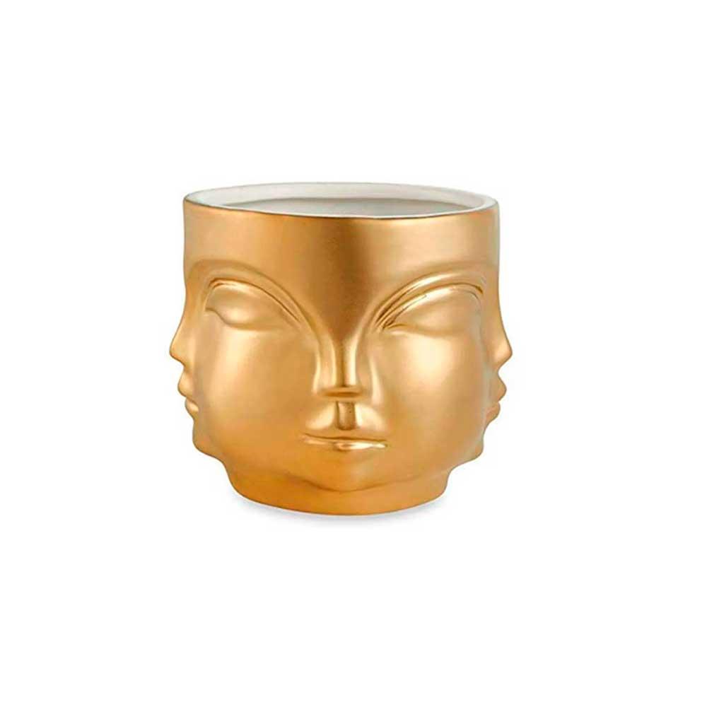 Cachepot Buda de Cerâmica Dourado Pequeno