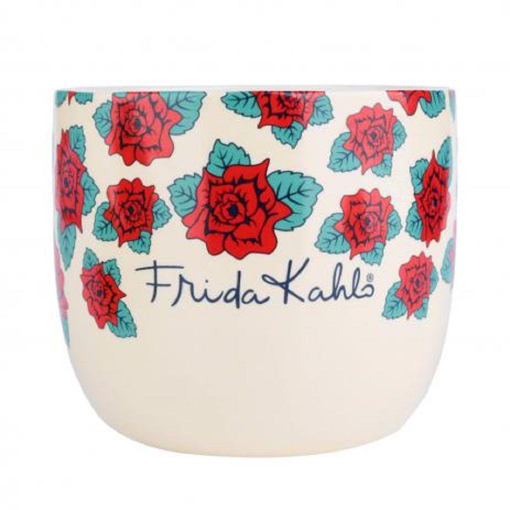 Cachepot Cerâmica Frida Kahlo Beautiful Flowers Branco/Vermelho