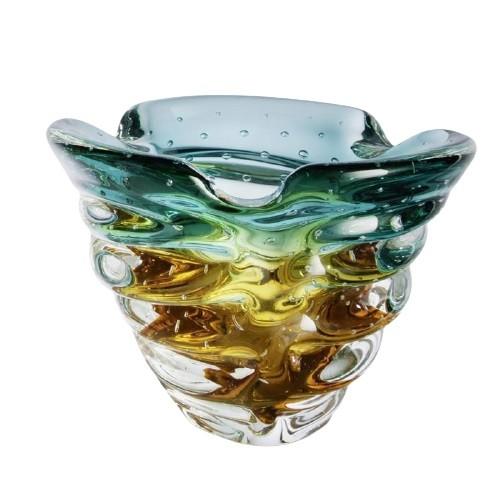 Cachepot de Cristal Murano Verde Esmeralda com Âmbar 18cm - São Marcos