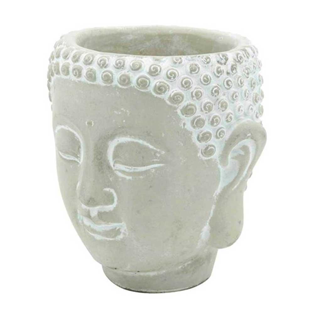 Cachepot Decorativo de Concreto Face Buda Cinza 8,5x8x9,5cm