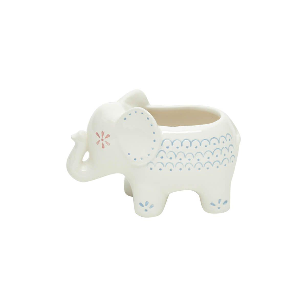 Cachepot em Cerâmica Elefante Branco Grande