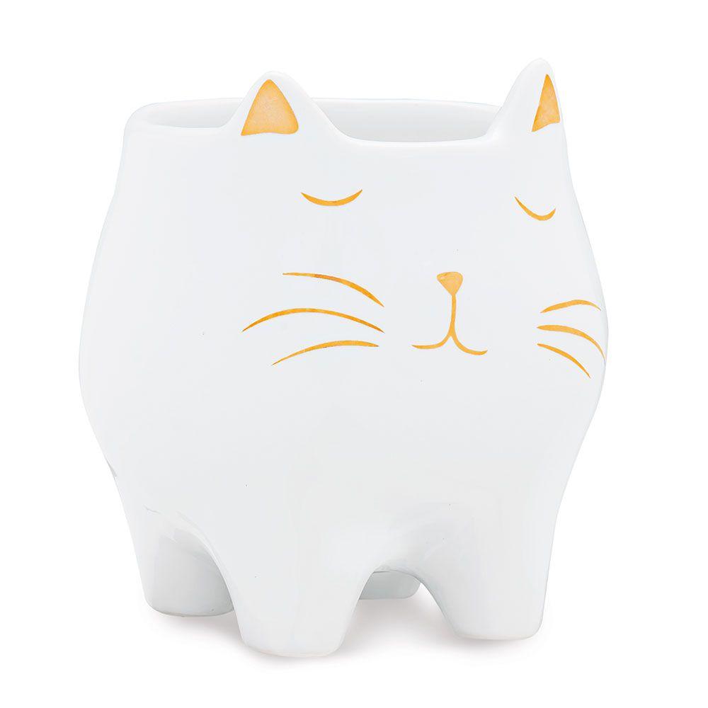 Cachepot em Cerâmica Gato Branco com Dourado