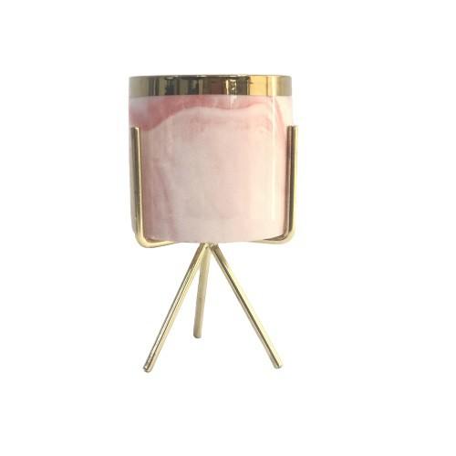 Cachepot em Cerâmica Rosa Marmorizada com Suporte em Metal 16cm