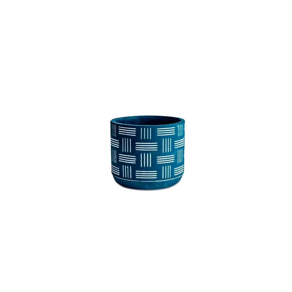 Cachepot em Cimento Azul Linhas 7cm