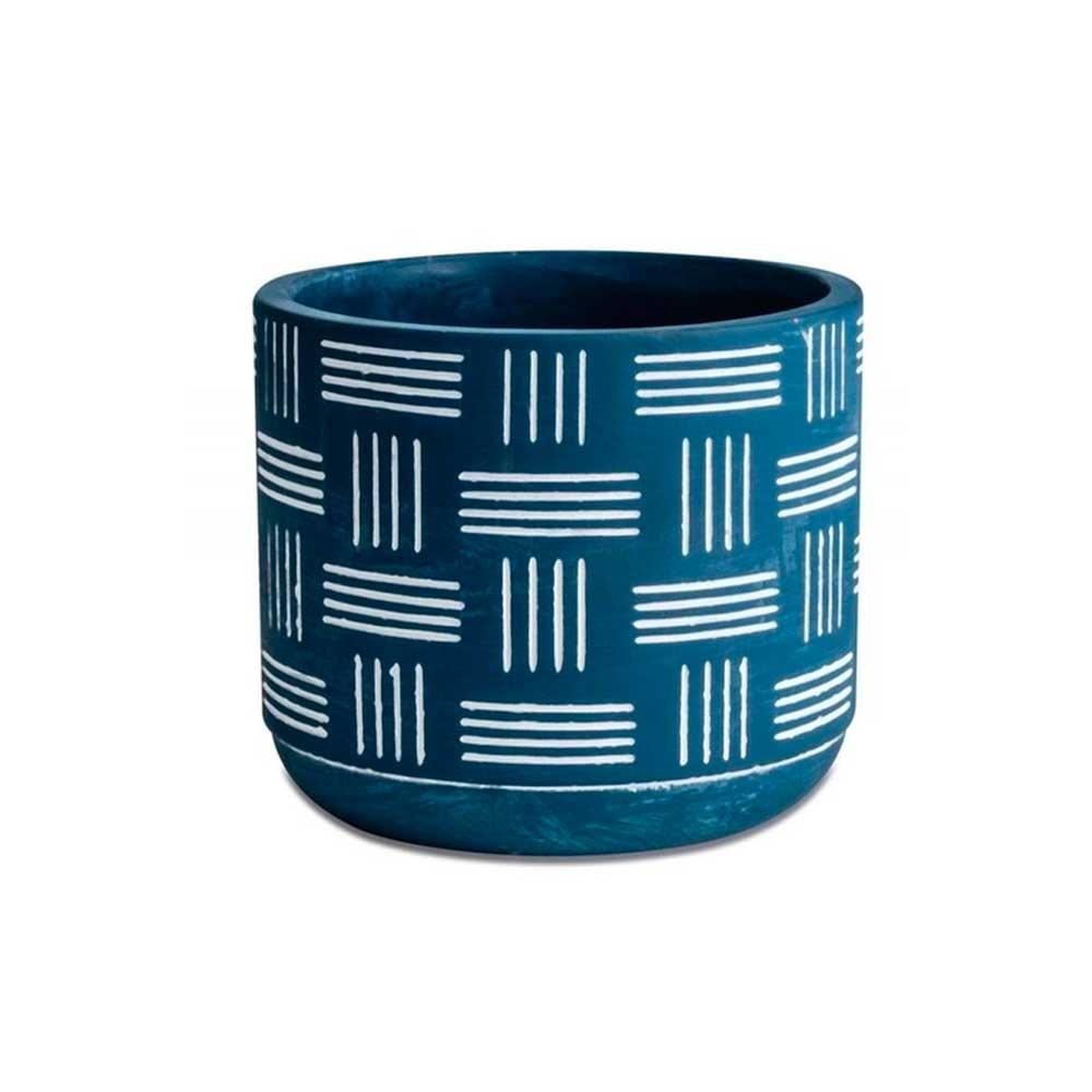 Cachepot em Cimento Azul Linhas 9,5cm