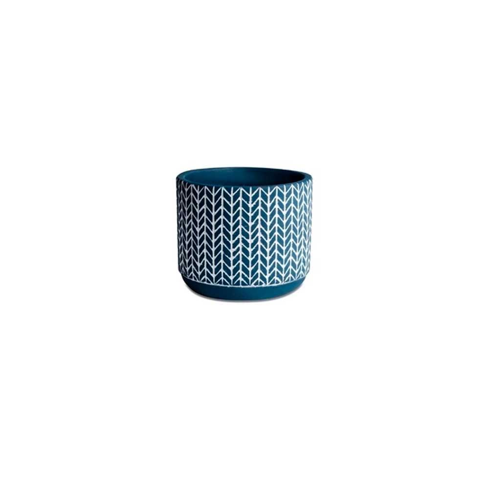 Cachepot em Cimento Azul Mosaico 7cm