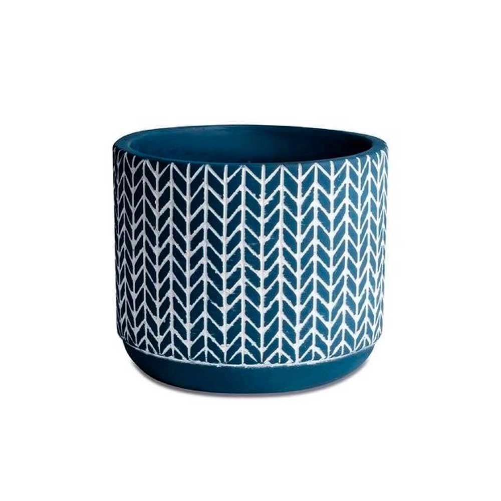 Cachepot em Cimento Azul Mosaico 9,5cm