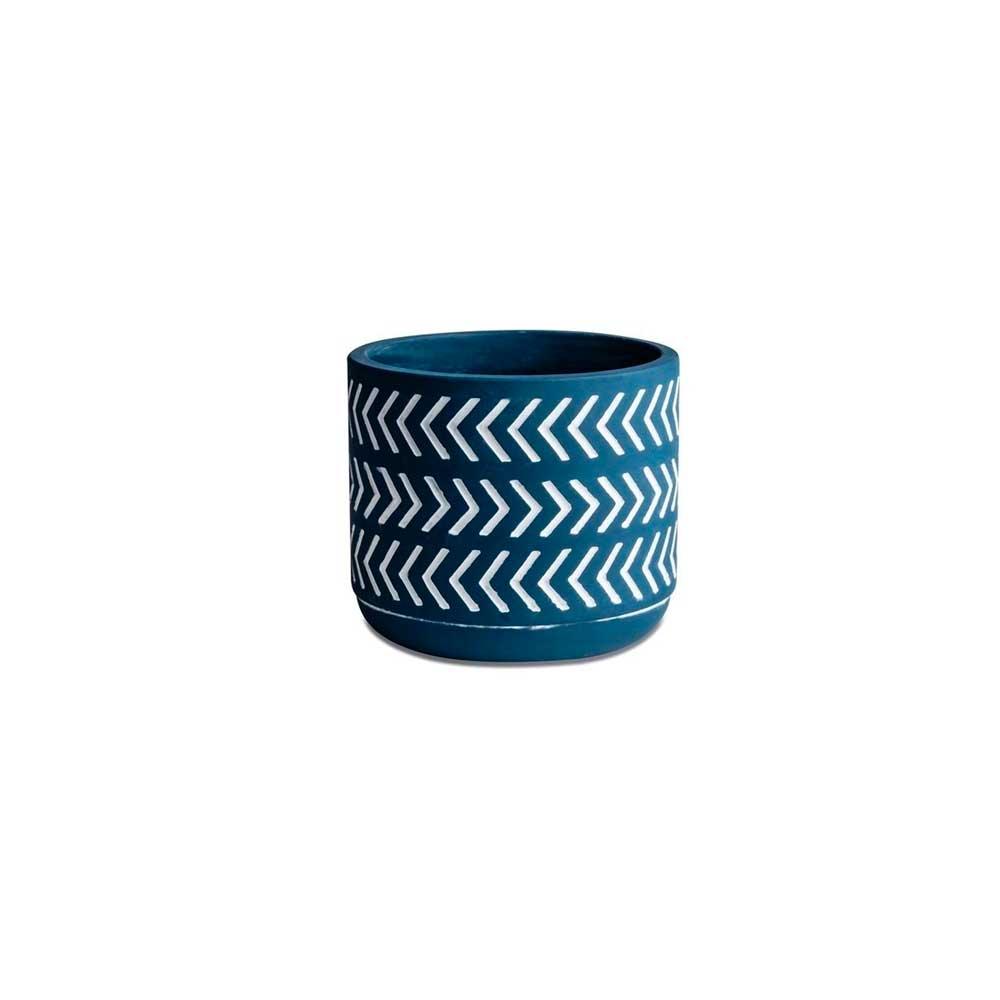 Cachepot em Cimento Azul Setas 7cm