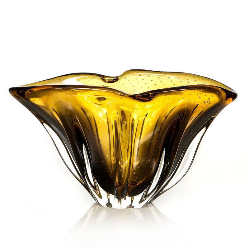 Cachepot em Cristal Murano Âmbar com Marrom 20cm