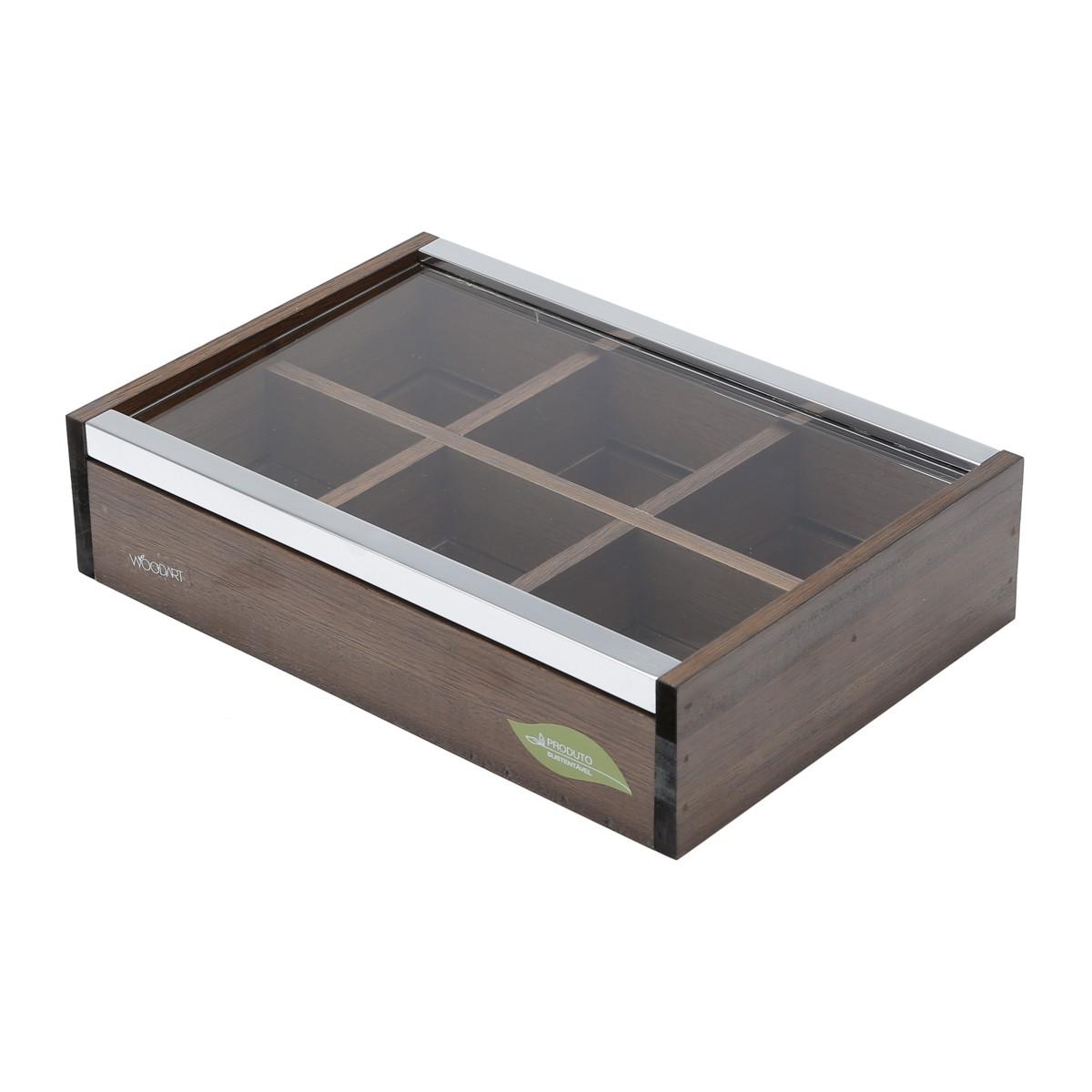 Caixa de Madeira Para Chá com Tampa de Vidro com 6 Divisórias
