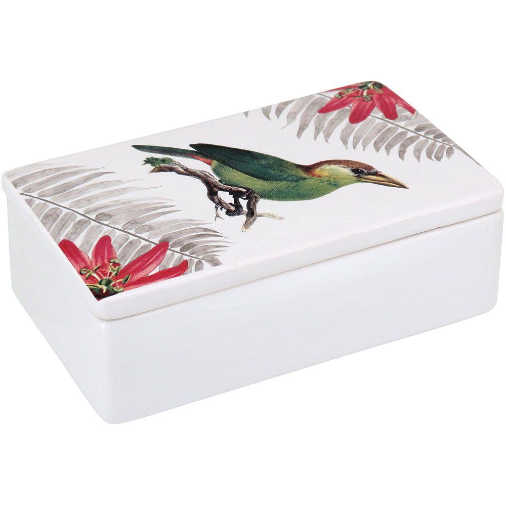 Caixa Decorativa em Cerâmica Branco Retangular