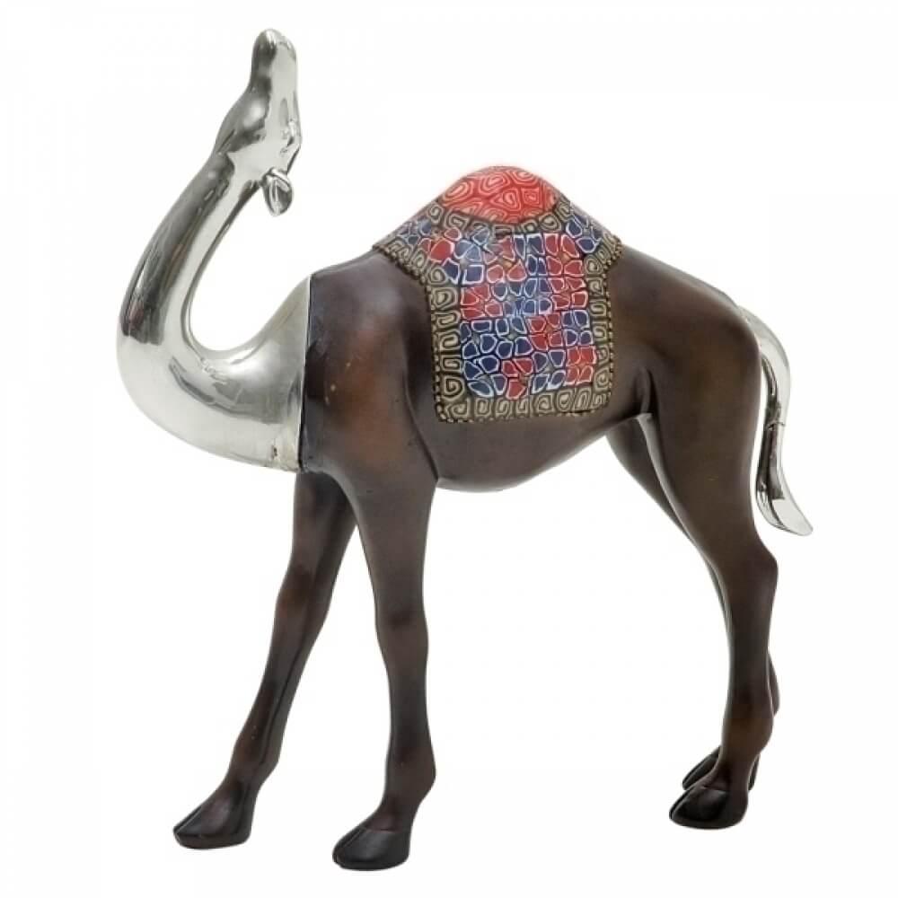 Camelo Decorativo de Resina Marrom e Prata