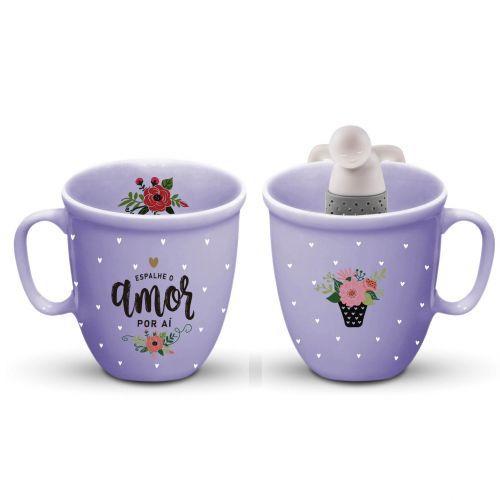 Caneca para Chá Com Infusor de Silicone Espalhe Amor Por Aí 400ml