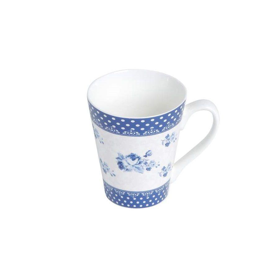 Caneca de Porcelana Elsa Rosas Azuis 340ml