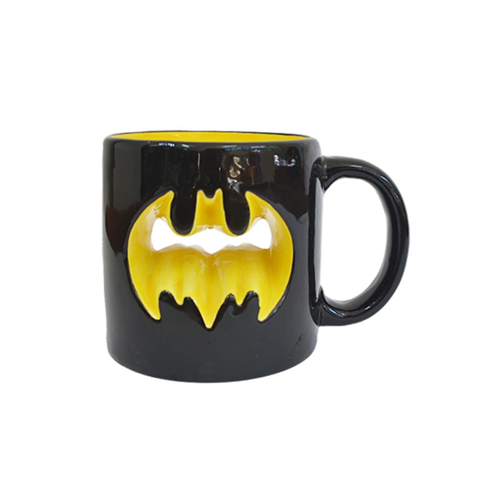 Caneca Porcelana Batman Logo Preta/Amarela 320ml