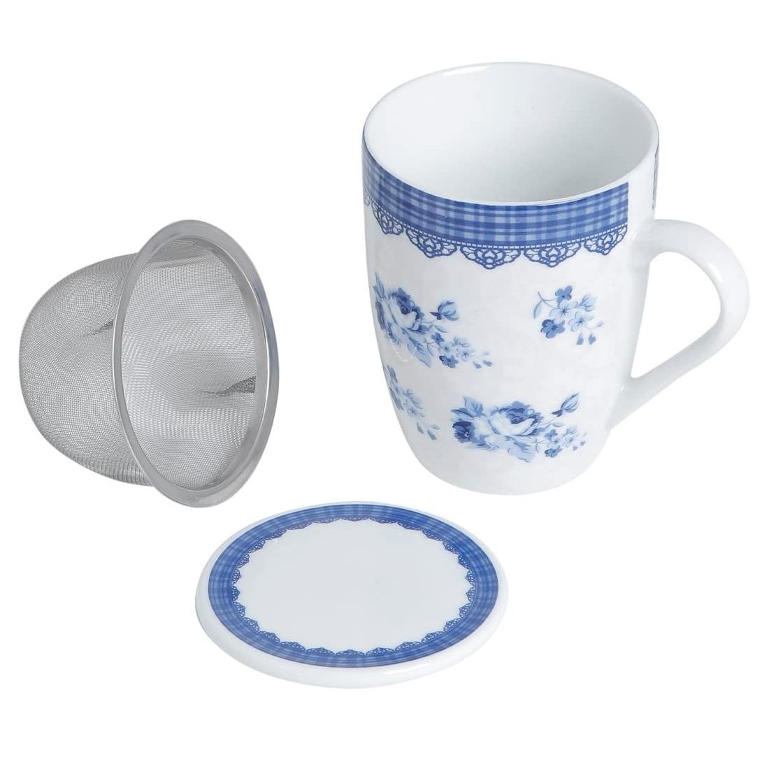 Caneca Porcelana Super White com Tampa e Filtro Grécia Azul e Branco 310ml