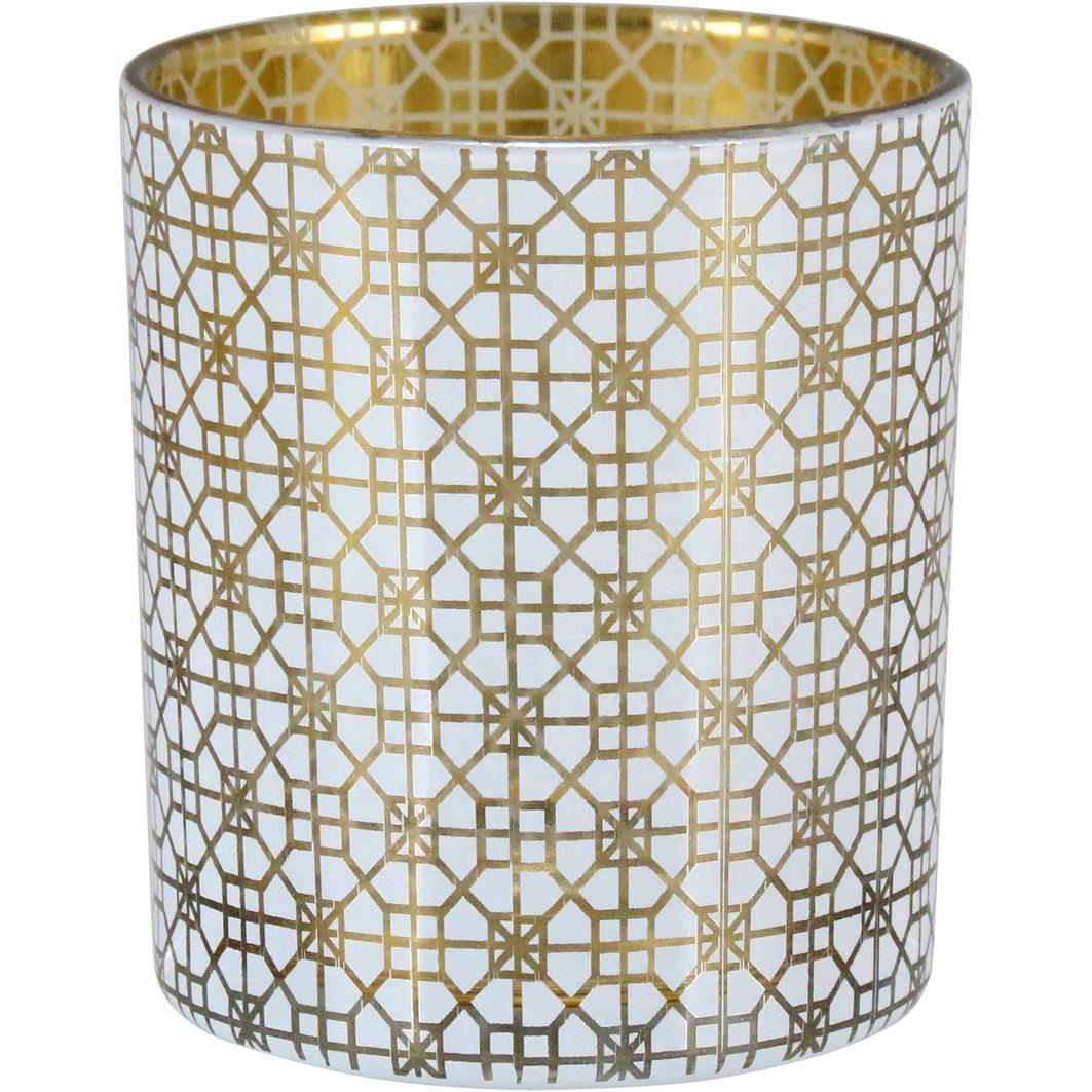 Castiçal de Vidro Branco e Dourado 8cm