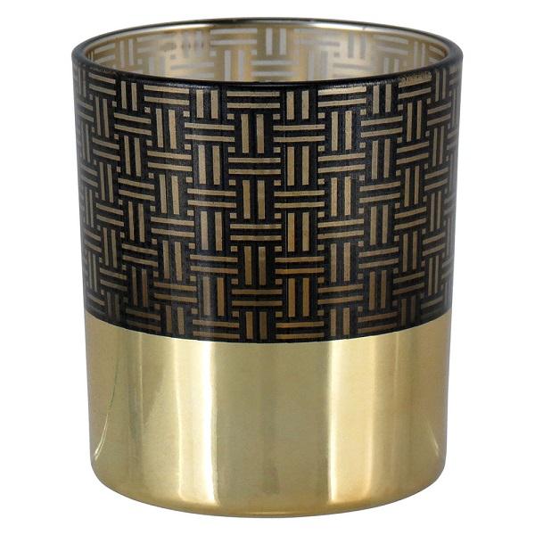 Castiçal de Vidro Quadri Preto e Dourado 8cm