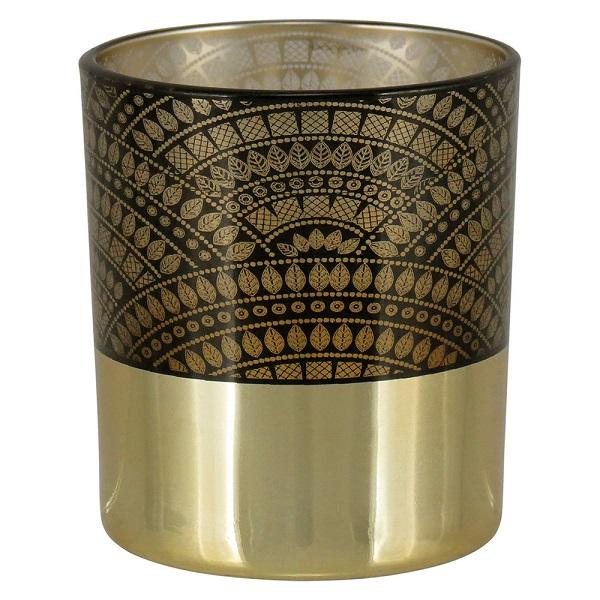Castiçal de Vidro Tribal Preto e Dourado 8cm