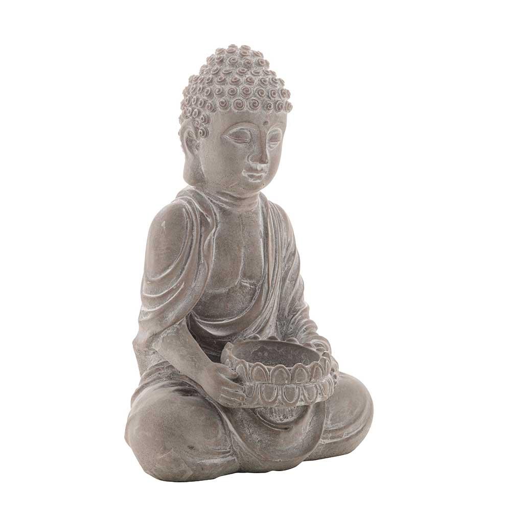 Castiçal Decorativo de Concreto Buda Sentado Cinza 12,5x10,5x20,5cm
