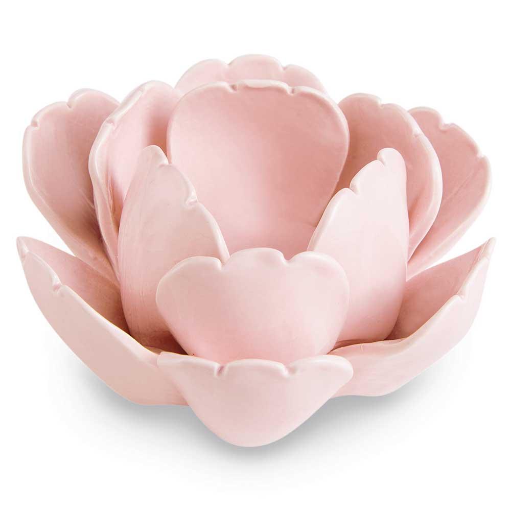 Castiçal em Cerâmica Flor Rosa Claro 12,5cm