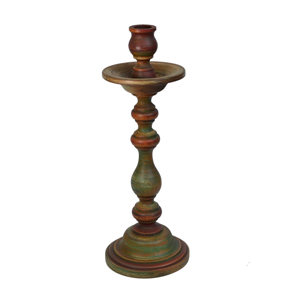 Castiçal Rustico de Madeira 27cm