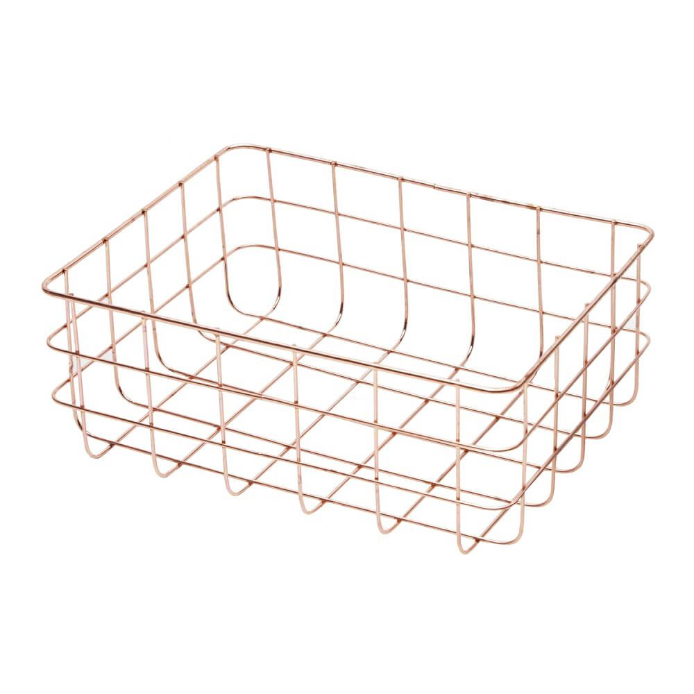 Cesta de Ferro Retangular Copper Wire Square Cobre