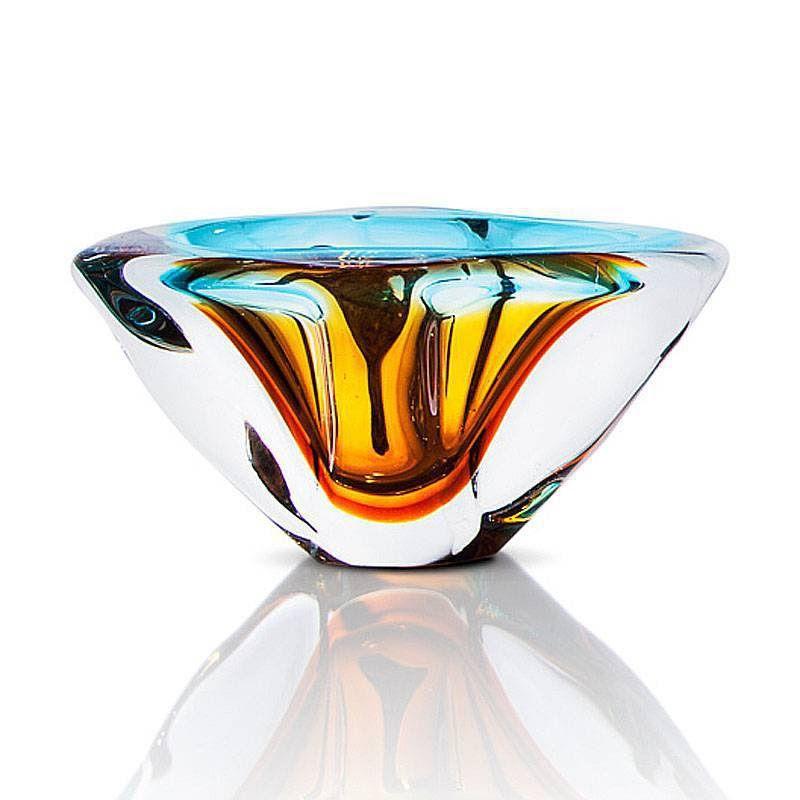 Cinzeiro de Cristal Murano Aquamarine com Âmbar