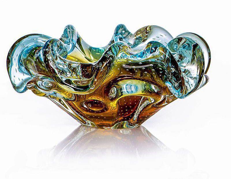 Cinzeiro de Cristal Murano com Aspente Azul com Âmbar